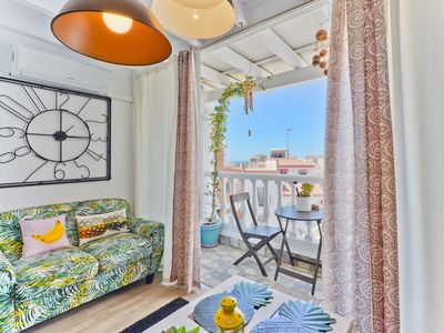 Photo for Luminous Apartment Close to Beach with Air Conditioning, Wi-Fi & Balcony; Parking Available
