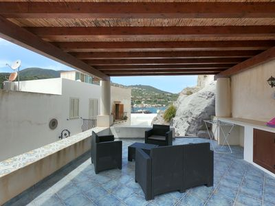 Photo for Independent apartment with sea view terrace in the historic center of Lipari