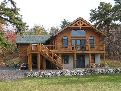 Rustic Log Home, Rear View
