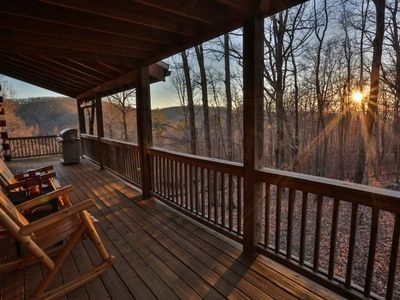 Photo for Hilltop Hideaway is tucked high above the valleys below in a serene setting that boasts angelic soun