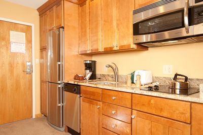 Cook simple meals in the kitchenette