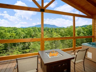 Photo for Romantic Cabin with Views, Outdoor Living Room, Fire Pit, Hot Tub, Upgrades!