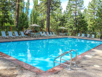 Photo for Comfortable condo w/ projector, gas fireplace, and pool access. Close to skiing!