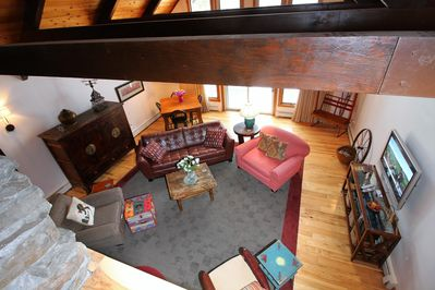 View looking down from the spacious loft