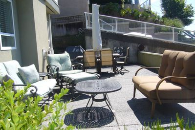 A huge patio that is perfect for entertaining. Park off street below the patio.