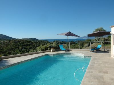 Photo for Air-conditioned villa swimming pool for rent stunning view St-Florent gulf - beach 5 min