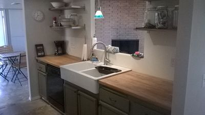 Large Farmhouse Sink and dishwasher in new kitchen