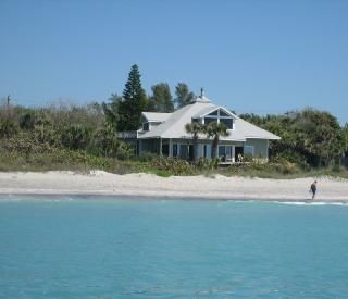 View of the Beach House from the Gulf. Our backyard is the beach.