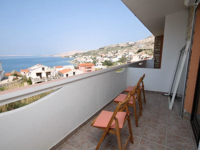 Photo for Two bedroom apartment with balcony and sea view Metajna, Pag (A-527-a)