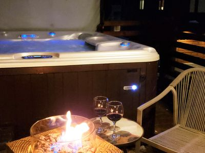 Private hot tub and cozy fire pit in the best location in Mammoth.