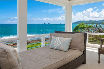 Ocean views throughout the house - chaise lounge in the living room