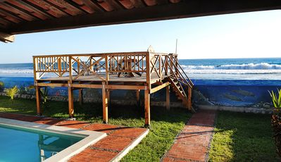 The wooden deck and access to the beach