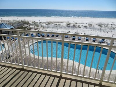 Photo for ALL SPRING RATES REDUCED BY 20%, BOOKING FAST. SB 245 A cozy 2 bedroom 2 bath Gulf front Condo.  Sit on the balcony and enjoy the breeze and view.  Dip your toes into the pool or surf.  1 Parking Pass comes with quote