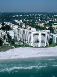 Crystal Sands Condo- 3 stack from far end overlookng pool and beach