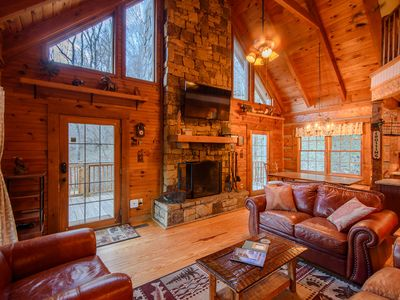 Photo for Cozy, Charming Mountain Cabin with a View in Valle Crucis with a Hot Tub, Fire Pit, Game Room