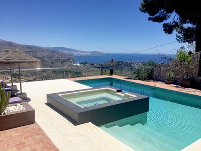 Photo for Balearic style with incredible views. Pool, Spa, terraces & outdoor kitchen