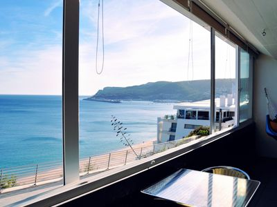 Photo for T1 with balcony over the Sesimbra beach a magnificent sunset is waiting for you
