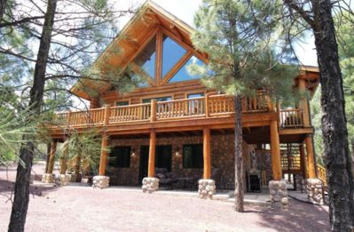 Photo for Rustic Log Cabin in the Pines , 4 bed + Loft, 3 Bath,  Next to Forest