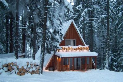Winter Front View Of Cabin