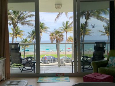 Your view of the beach while relaxing in this beautifully renovated condo.