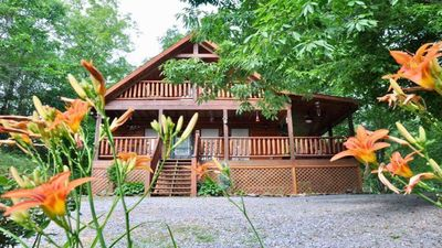 Photo for Come relax in our privately located  but convenient cozy cabin !