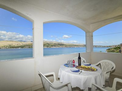 Photo for One bedroom apartment with terrace and sea view Pag (A-15670-a)