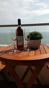 Enjoy a glass of wine overseeing the beautiful ocean