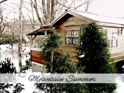 Photo for Romantic 1BR REAL LOG Cabin w/Hot Tub & Fireplace - Riverside (sleeps 4)