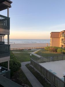 Photo for Ocean view condo. Step to the beach, pool & Ocean Annie's. No street to cross.