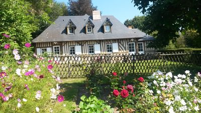 Photo for Charming Norman house near Deauville with swimming pool, sauna, gym