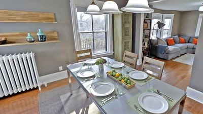 Airy and modern dining room that seats 8