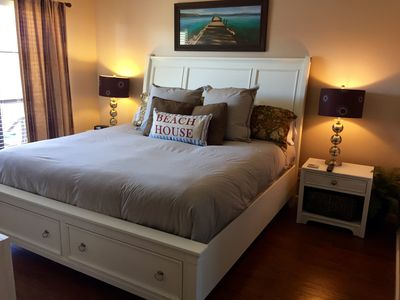 King Bed with Light-weight Down Comforter.  32 inch TV.