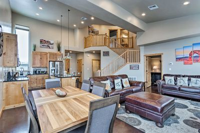 This 2-story townhome offers an amazing living space with 20ft ceilings.