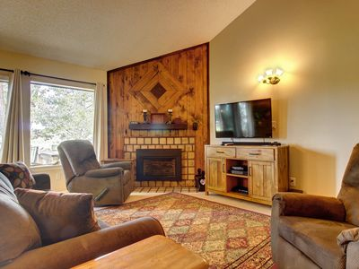 Photo for NEW LISTING! 2 level condo w/ deck & fireplace-walk to golf, restaurants & shops