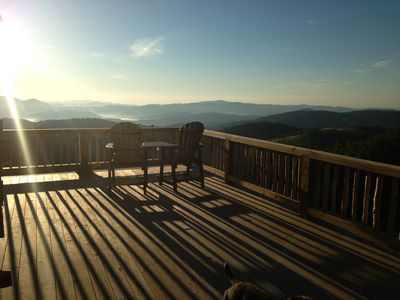 Sunrise to the East.  The chairs are calling your name. VA, TN, NC view