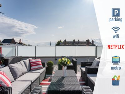 Photo for Luxury apartment with south facing terrace and private parking