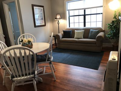 Living area with sleeper sofa for two