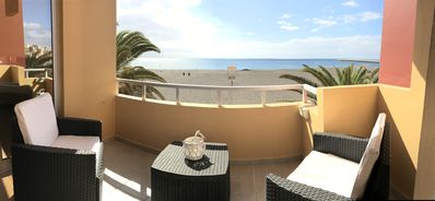Photo for Ocean View Apartments. First line of the beach Terrace overlooking the sea. Wifi. Parking