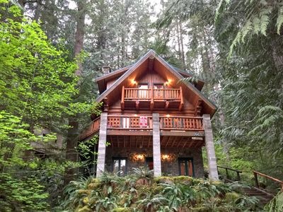 Photo for Cabin #47 - A rustic vacation home with modern charm with a private hot tub and Wifi!