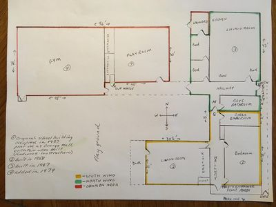 map, yellow= south wing, green= north wing.  Red= game room and gym