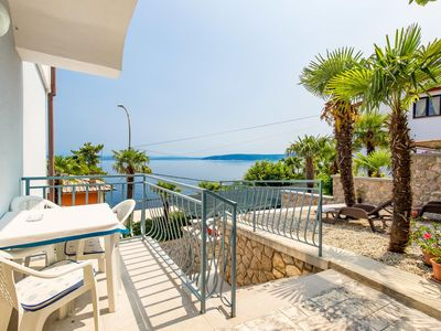 Photo for One bedroom apartment with terrace and sea view Mošćenička Draga (Opatija)