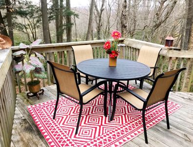 Sit outside overlooking the golf course and mountain and take in the fresh air