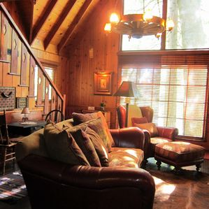2100+ SF Restored 1926 Lodge style cabin.  30' Ceiling Large Living Room Windows