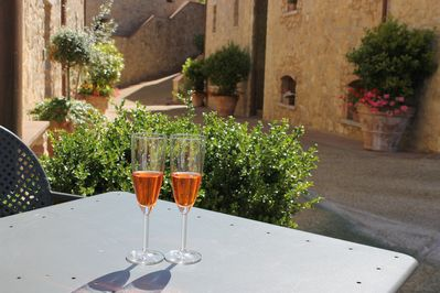 Rosé wine on a hot summer day, in front of our apartment in Borgo di Gaiolo