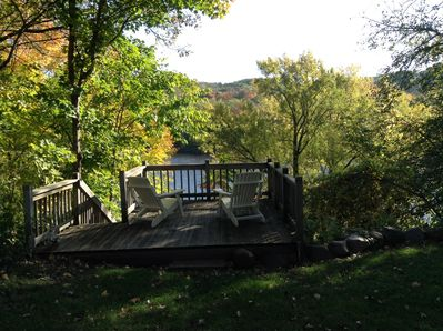 Enjoy a cup of coffee on the deck overlooking the beautiful St. Croix River