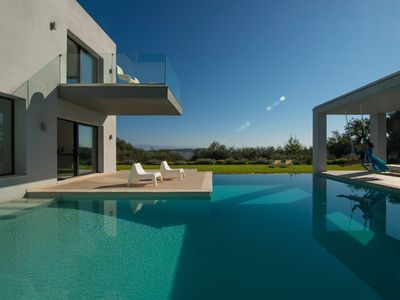 Photo for Super Luxury Corfu Villa | Villa Eve | Private Pool | Sea View | 4 BDR | Kastania