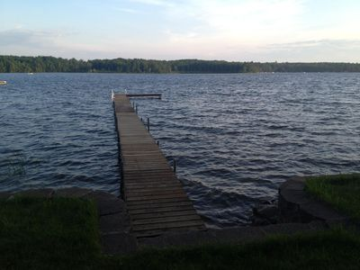 view of the lake and dock
