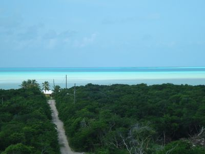 Beautiful view of the Caribbean bonefish flats from the deck...5 minute walk