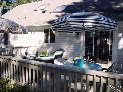 Plenty of shade with 2 umbrellas on the deck! - 11 Cranwood Road Harwich Cape Cod New England Vacation Rentals