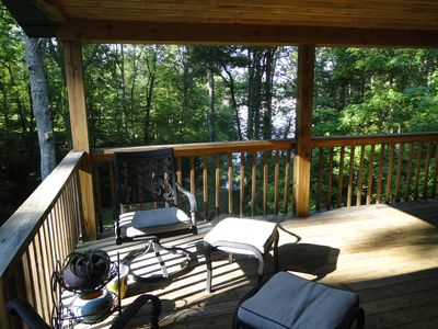 Dual ceiling fans on spacious deck make for a pleasant, relaxing spot!